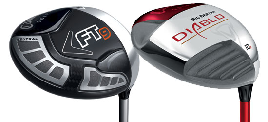 A carbon-composite headed Callaway FT-9 driver and a titanium headed Callaway Diablo driver
