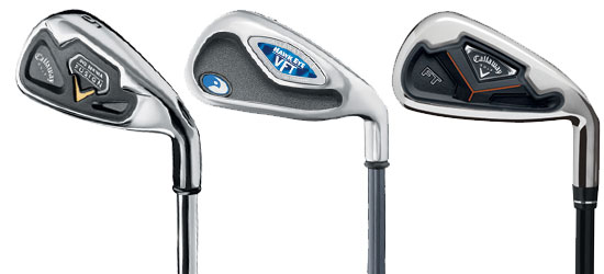 A sereis of Callaway titanium faced irons